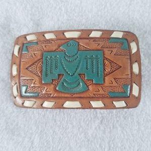 Vintage southwest eagle tooled leather belt buckle
